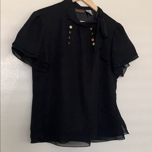 Chadwick's Pussy Bow Blouse with Gold Buttons